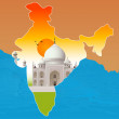 Taj Mahal, agra, outline map of india — Stock Photo