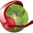 Stock Photo: Globe with headset, microphone