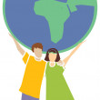 Royalty-Free Stock Photo: Two kids holding the globe, earth