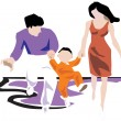 Family running, having fun — Stock Photo