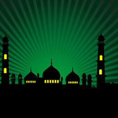 Mosque with green rays backgroun — Stock Photo