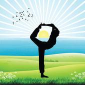 İnsan işin yoga, sunrise — Stok fotoğraf