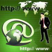 Obchodní muž, globe, internet symb — Stock fotografie
