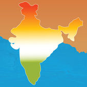 Outline map of india in tri colors — Stock Photo