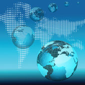 Array of globes with world map — Stock Photo