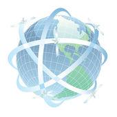 Satelliti che circondano la terra nel suo percorso — Foto Stock