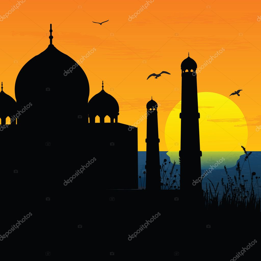 Silhouette view of Taj Mahal, agra, India, sunrise,sunset — Stock Photo #1410821