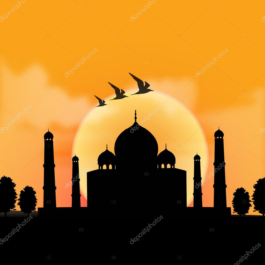 Silhouette view of Taj Mahal, agra, India with sunrise background  — Stock Photo #1410912