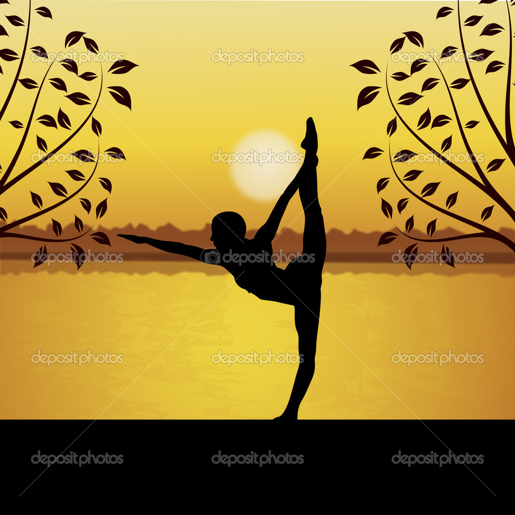 Human doing yoga with river and sun background   Stock Photo #1410967