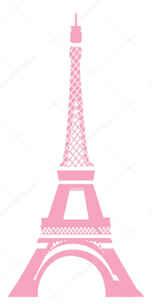 View of eiffel tower in pink with white background  Foto de Stock   #1458200