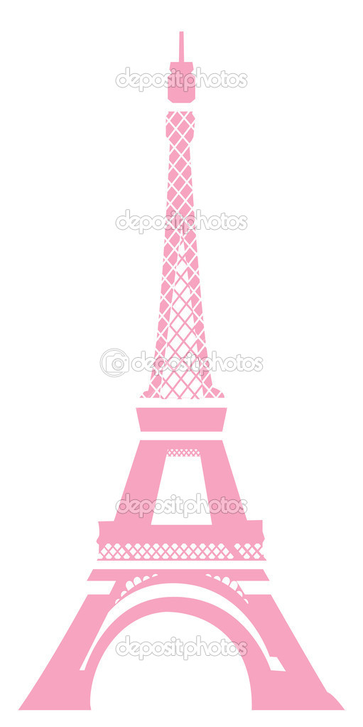 View of eiffel tower in pink with white background — Foto de Stock   #1458200