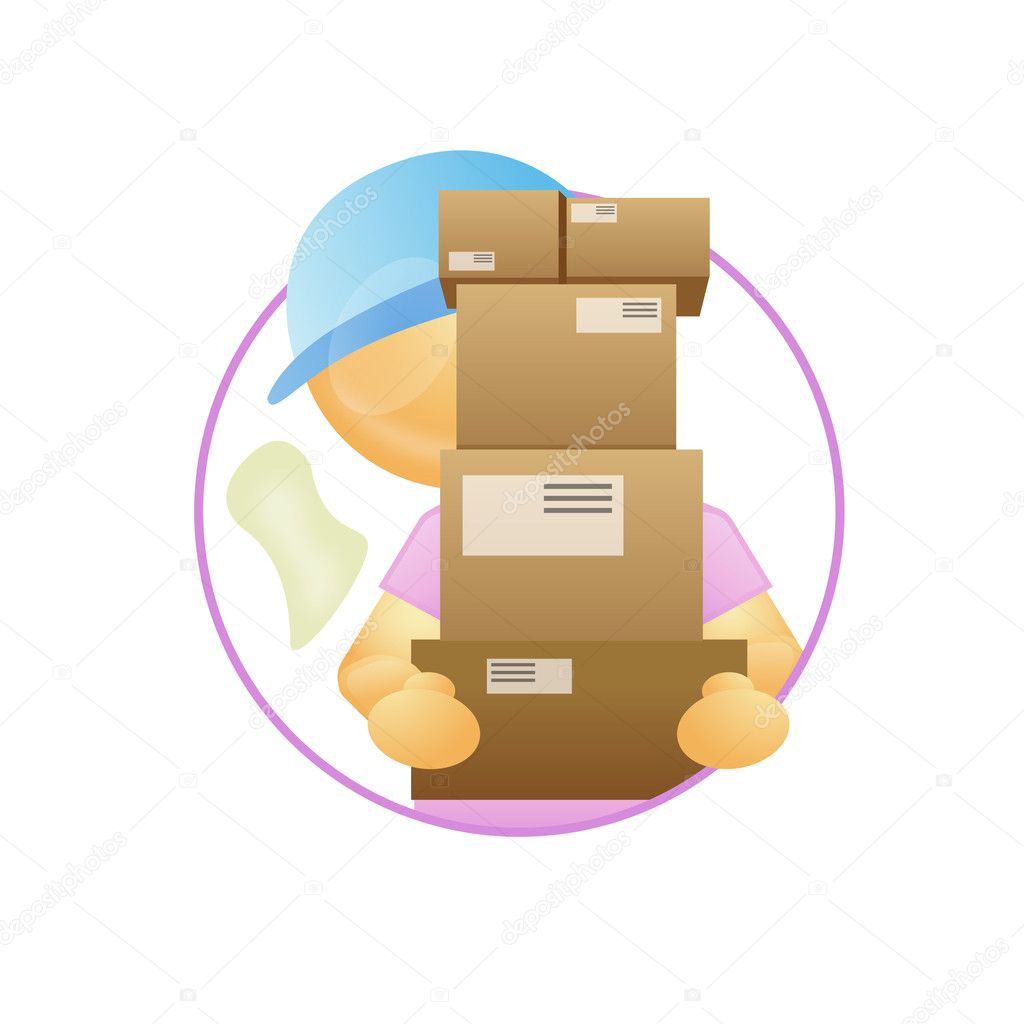 Delivery guy with packages in hand — Stock Photo #2424387