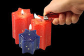 Red and blue candle — 图库照片