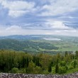 View from high mountain on lake — Stock Photo
