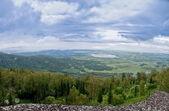 View from high mountain on lake — Fotografia Stock