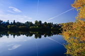 Lake with reflections air track — Stock Photo