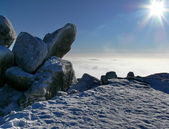 Big stones on top of mountain at winter — Stock Photo