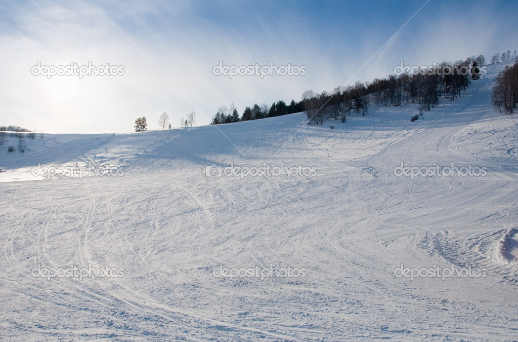 Mountain-skiing line nobody — Stock Photo #1925442