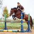 Show jumping - young girl and horse — Stock fotografie