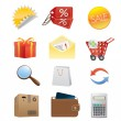 Shopping icons - Stockvectorbeeld