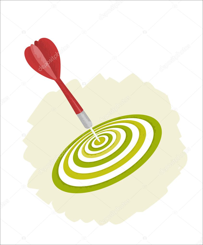 Vector illustration of green target and red dart — Stock Vector #1292538