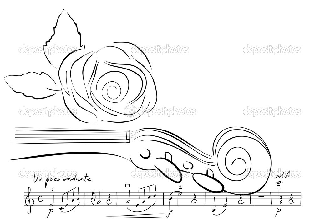 Musical background with violin and rose  Stock Vector #1293710