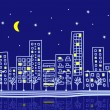 Cartoon urban night - Stock Vector