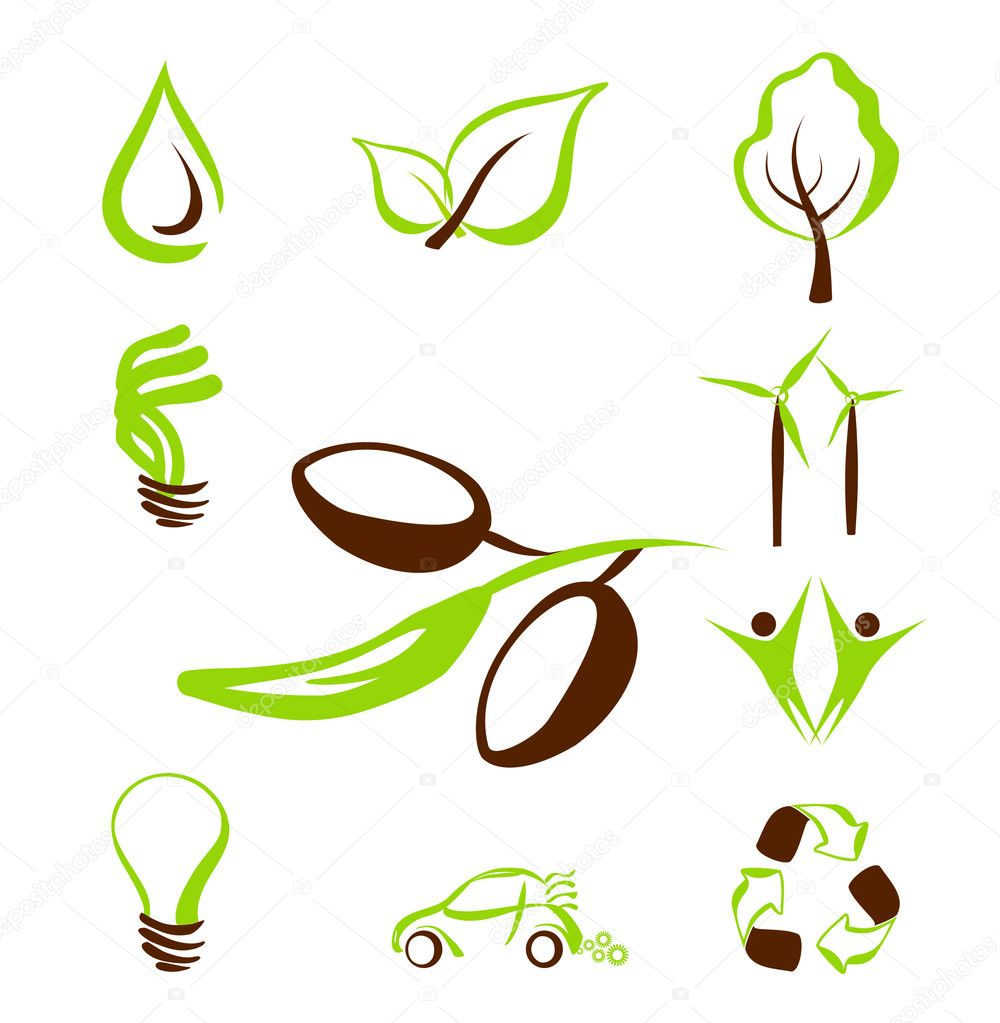 Vector set of eco icons — Stock Vector #1300551