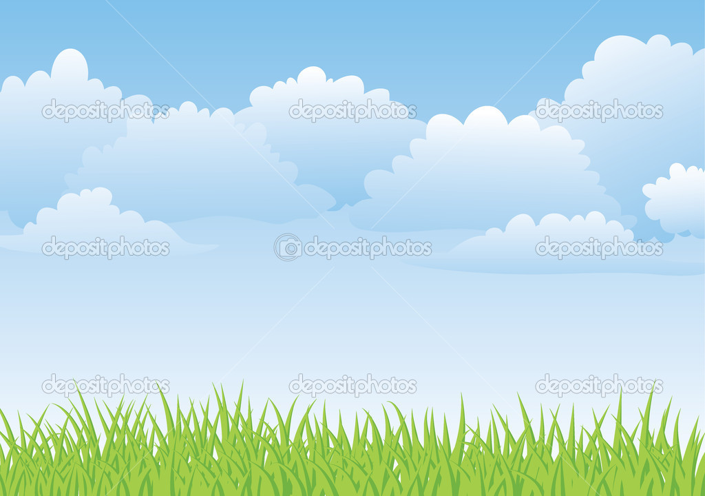 Fresh spring landscape with sky and grass — Stock Vector #1997218