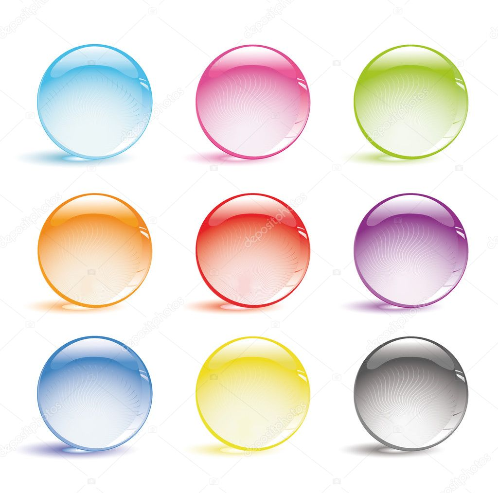 Vector set of glass balls  Vektorgrafik #1997323