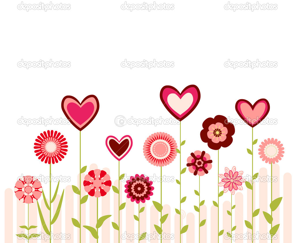 Background with hearts and flowers — Stock Vector #1997397