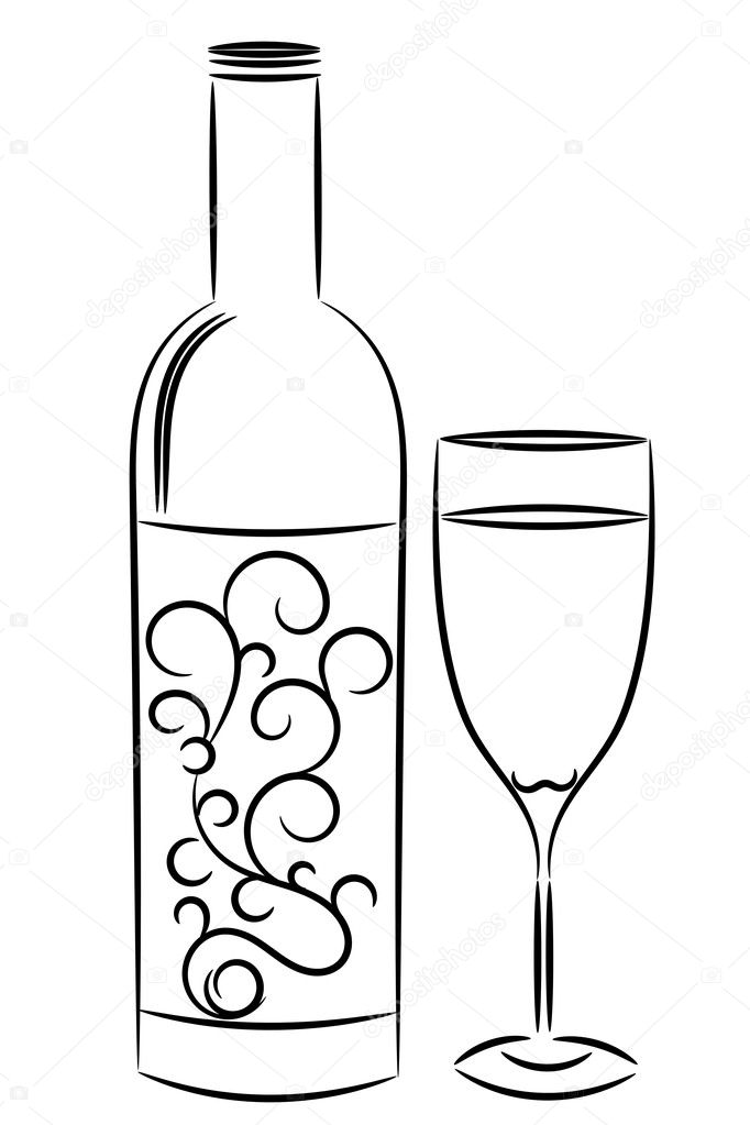wine bottle and glass in outline style — Stock Vector #2214704