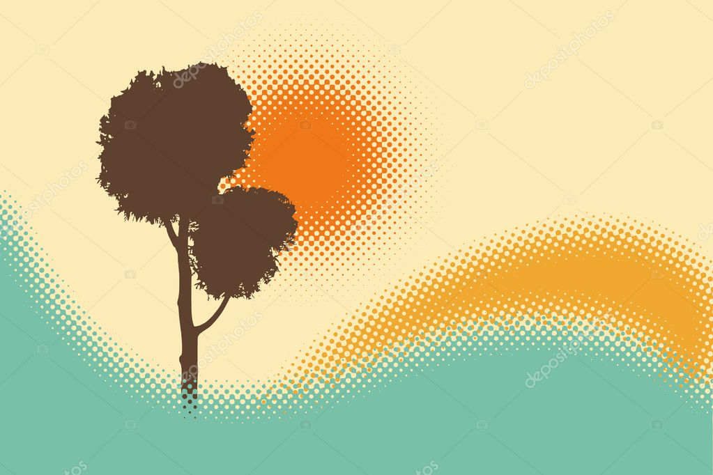Abstract background with tree silhouette  — Stock Vector #2216513