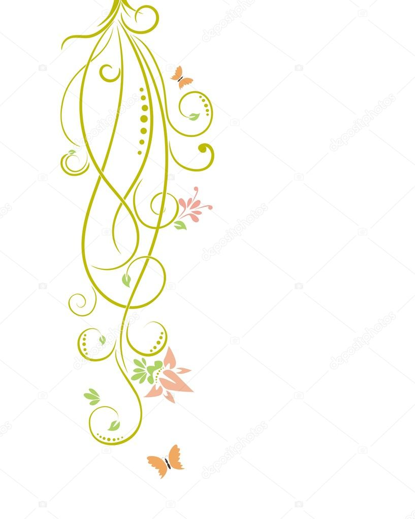 floral background with butterflies — Stock Vector #2588711