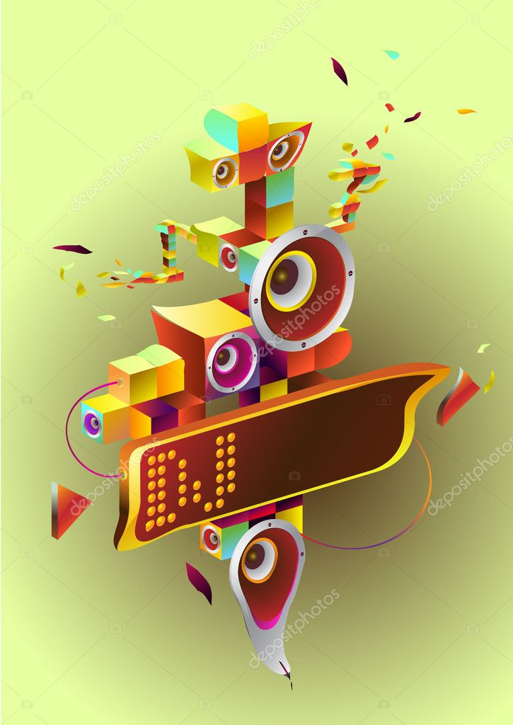 Abstract drawing for music aims. fantastic Figure with musical fragments and details and also a place for any text. Drawing can be used on CD and posters. — Imagen vectorial #1286341
