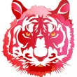 Head of a red tiger — Stock Vector