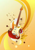 Red guitar — Stock Vector