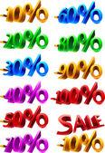 Set of sale percents — Stock Vector