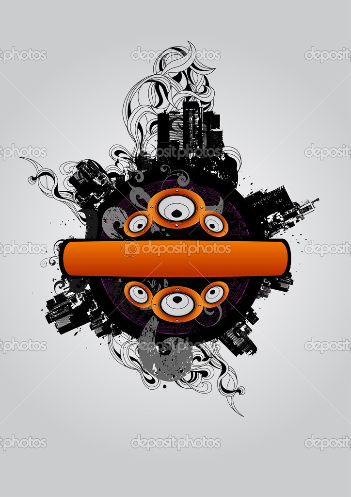 Abstract composition with a city silhouette and loudspeaker  Stock Vector #2521666