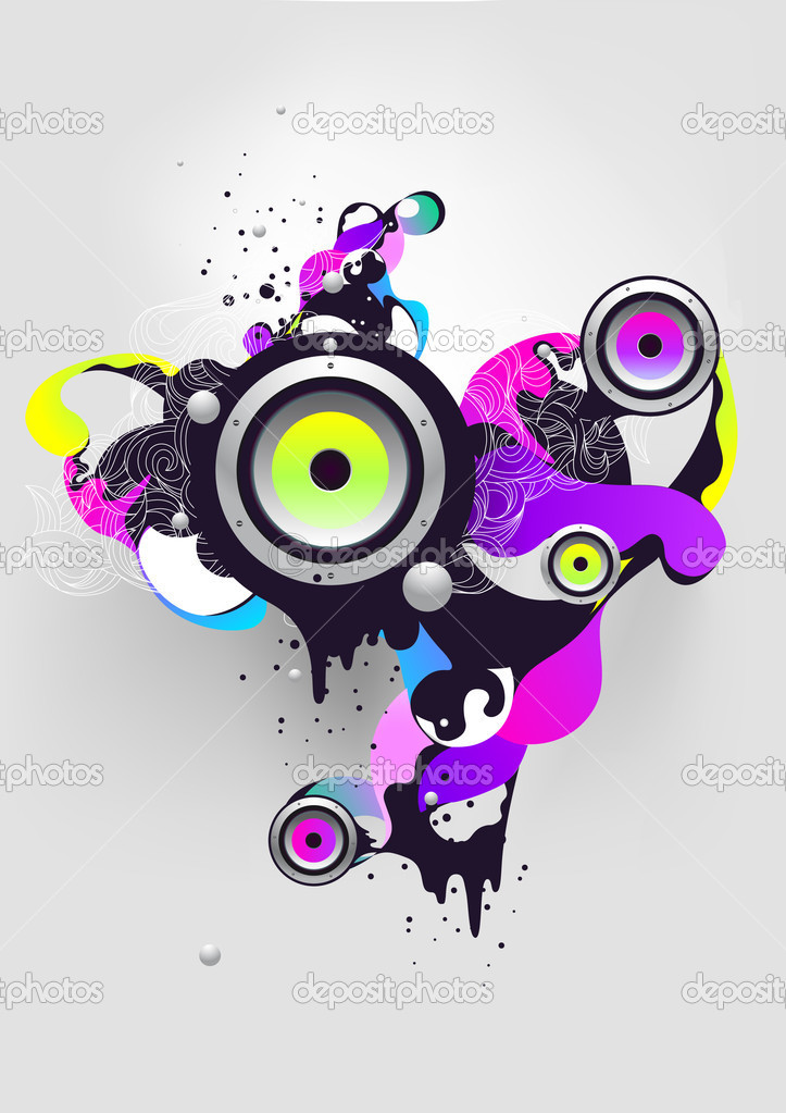 Abstract musical composition with loudspeaker — Stock Vector #2574937
