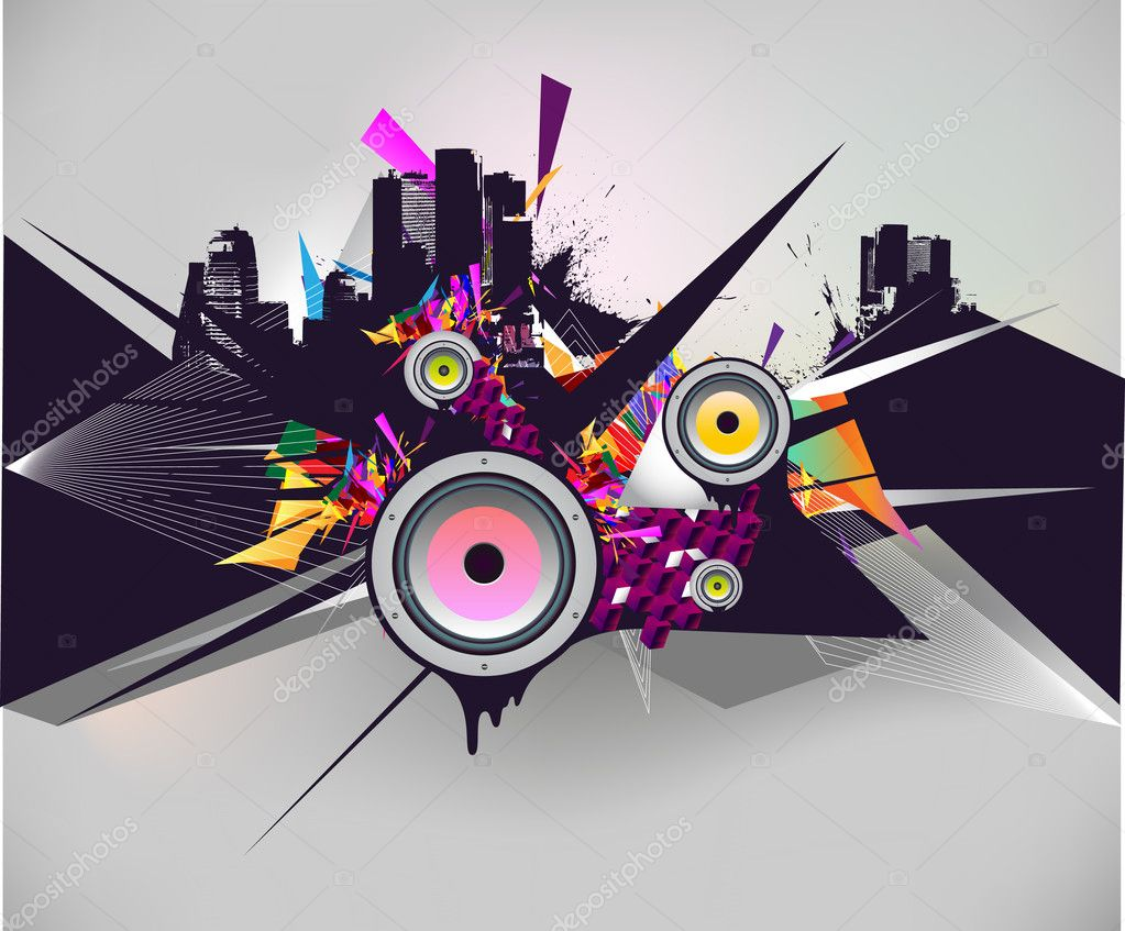 Abstract composition with a city silhouette — Stock Vector #2574950