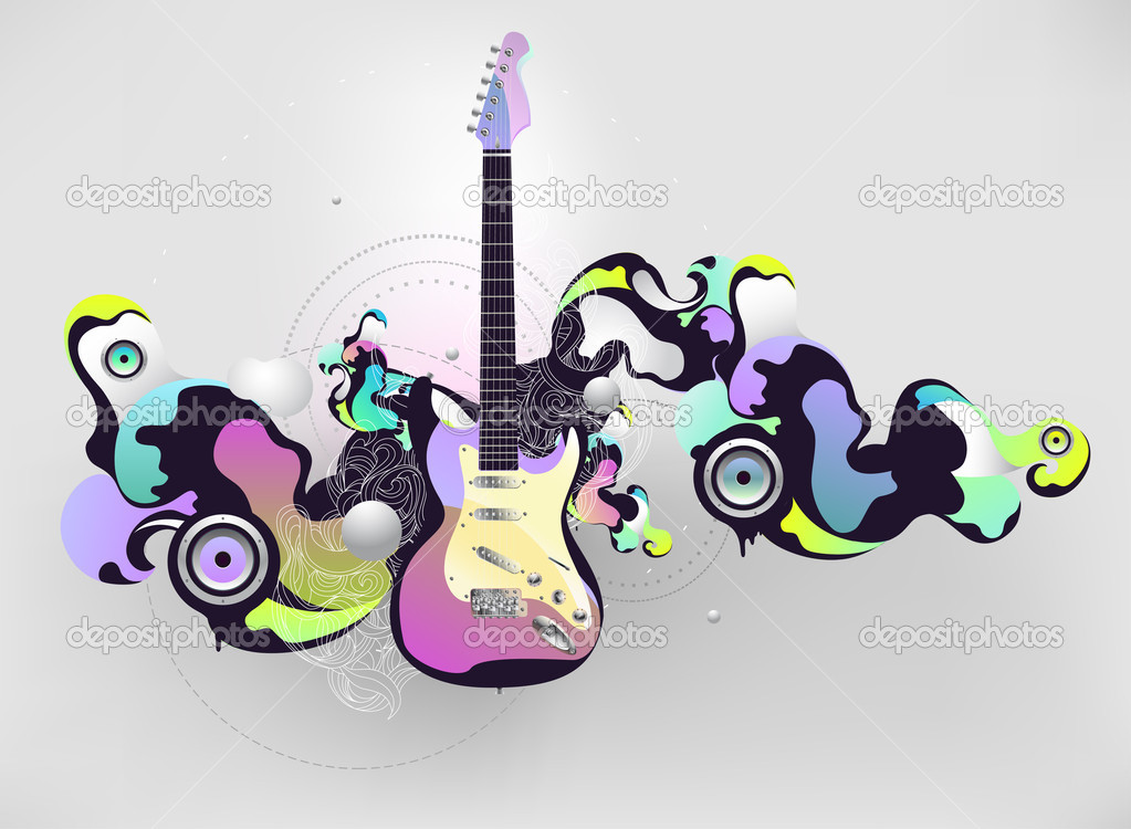 Abstract musical composition with guitar — Imagen vectorial #2581030