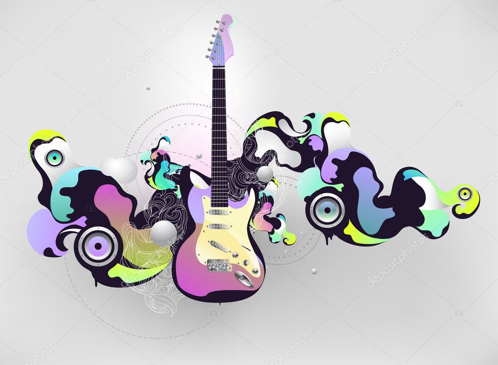 Abstract musical composition with guitar — Stockvectorbeeld #2581030