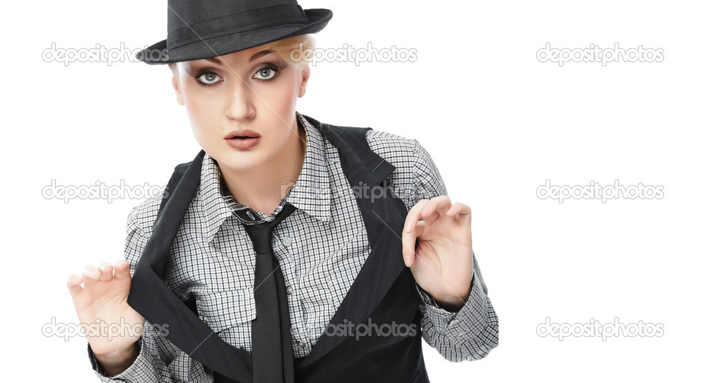 Attractive young Caucasian business woman in hat — Stock Photo #1653336