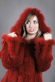 Woman in Fur lined winter coat — Stock Photo