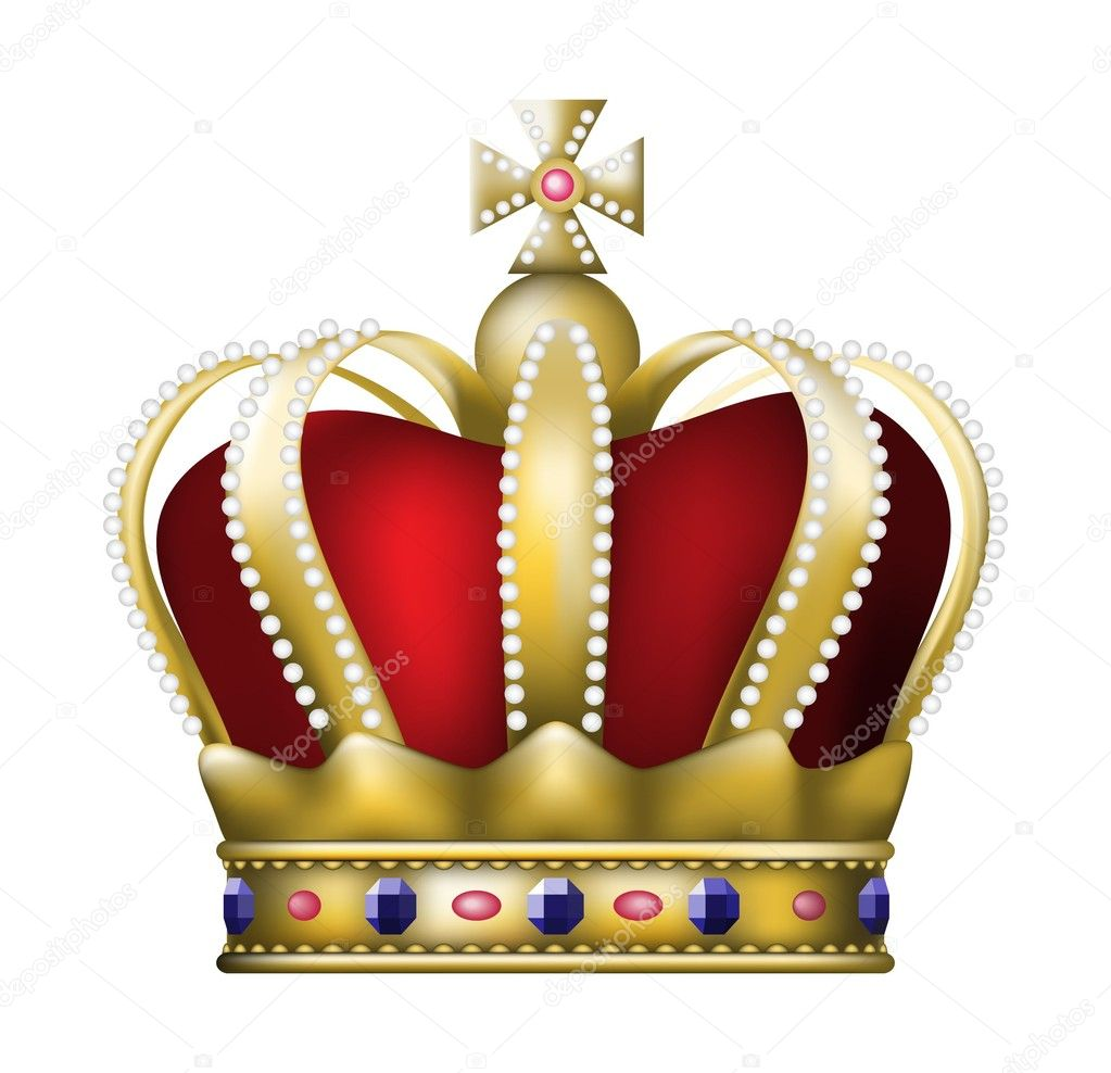 Gold crown with rubies — Image vectorielle #1287824