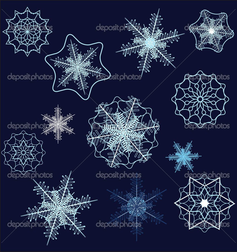 Vector snowflake collection   Stockvectorbeeld #1305018