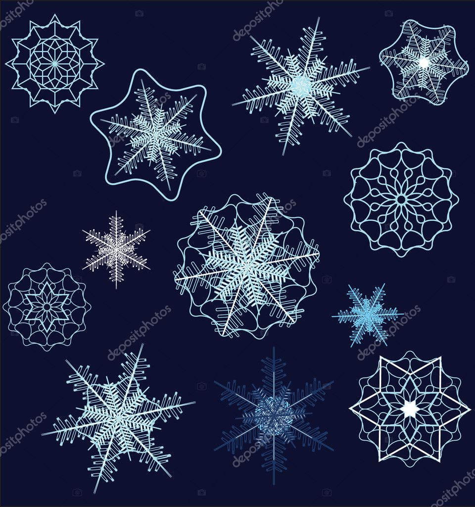 Vector snowflake collection  — Stok Vektör #1305018