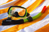 Mask and tube for a scuba diving — Stock Photo