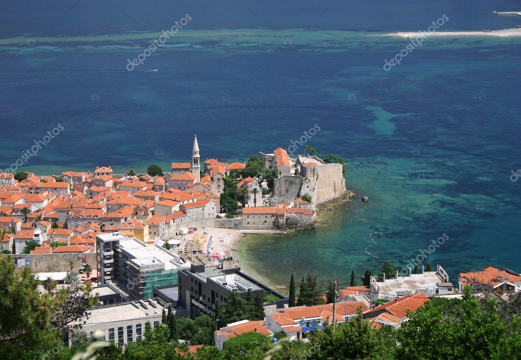 View of the Old Town of Budva and the Adriatic Sea   Stock Photo #1368254
